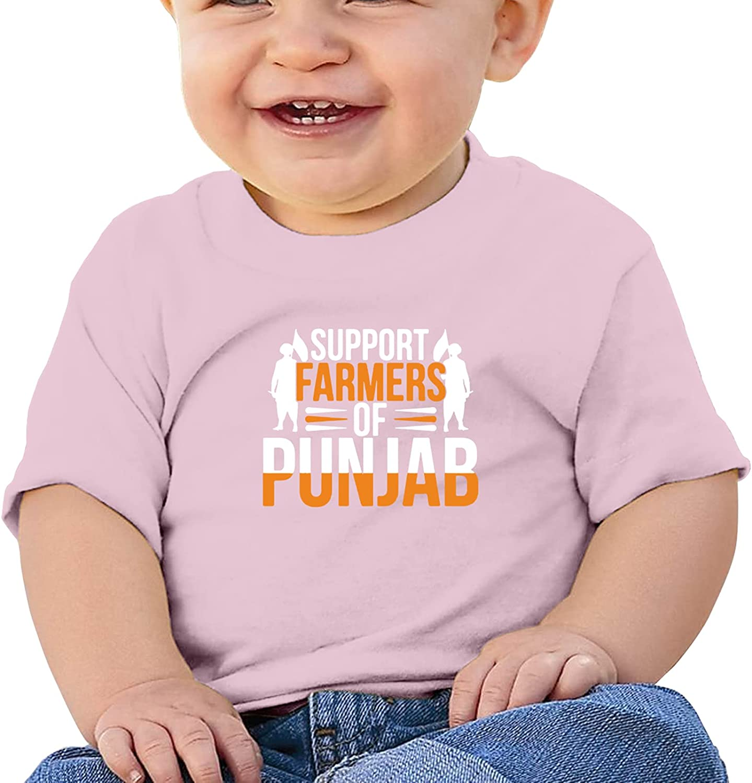 Support Farmers of Punjab India Kisan Girl Boysbaby'S Cotton T-Shirt Crew Neck Undershirts