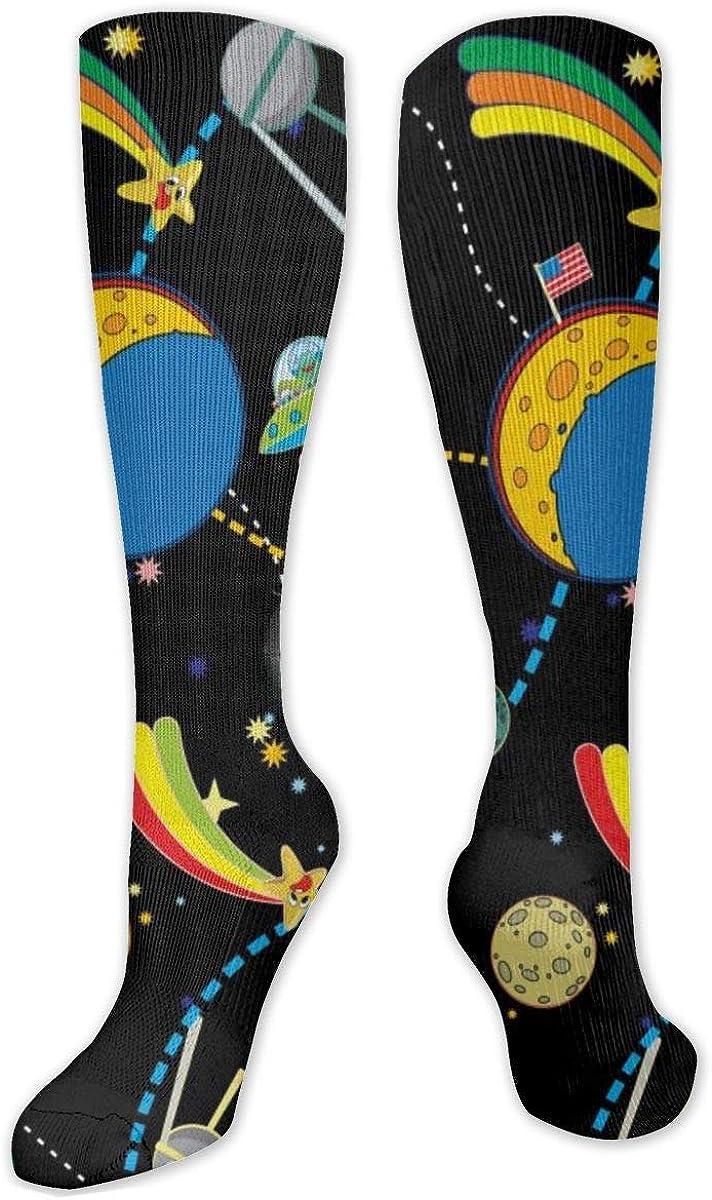 Space Rocket Knee High Socks Leg Warmer Dresses Long Boot Stockings For Womens Cosplay Daily Wear