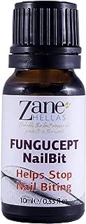 Zane Hellas FunguCept NailBit. Helps Stop Nail Biting and Thumb Sucking Habit. For Healthy Nails. No Bite. Controls and Prevents Nail Biting 100% Herbal Solution. 0.33 fl. Oz - 10 ml