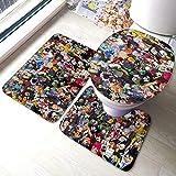 Odelia Palmer Juego de 3 Alfombrillas de baño Yu-Gi-Oh Juego de alfombras de baño Juegos de Toallas de baño y Alfombrillas absorbentes y de baño