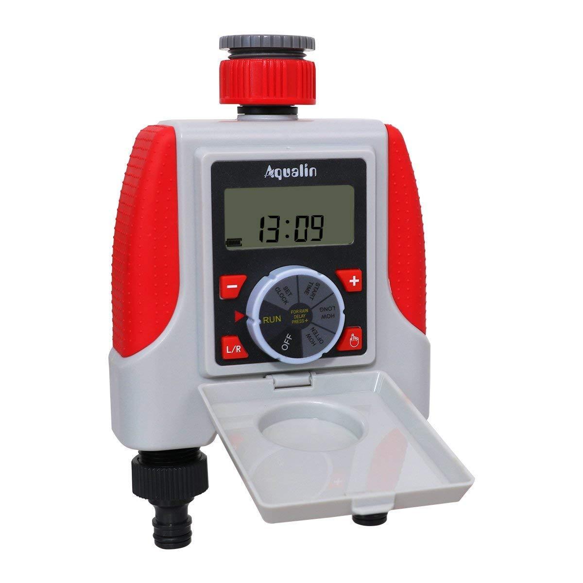 Aqualin 2-Outlet Temporizador de Agua electrónico Regulador programable Impermeable del Sistema de irrigación para el jardín: Amazon.es: Jardín