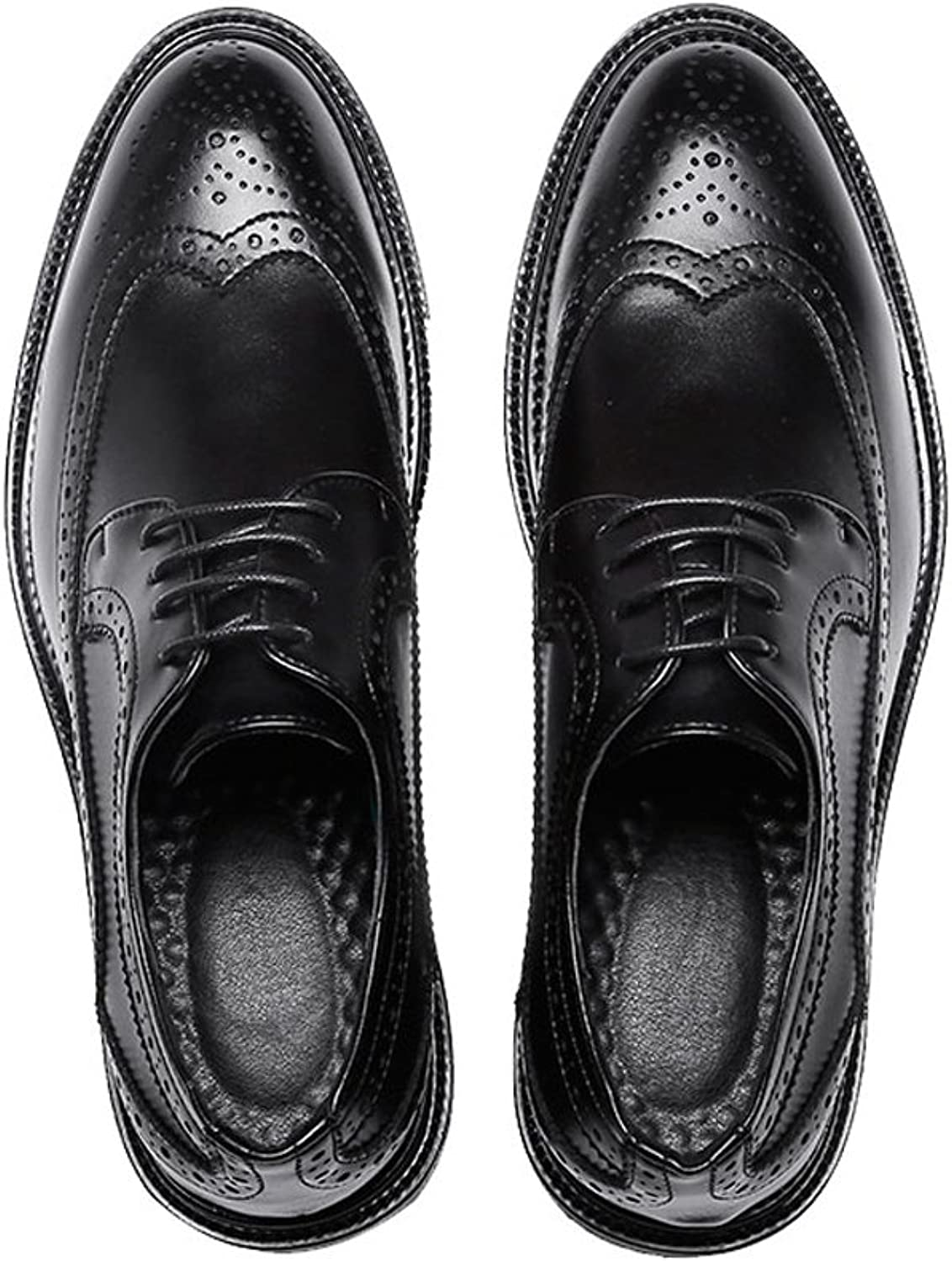 FeiNianJSh Men's shoes Fashion Business Brogue shoes PU Leather Upper Lace Up Wingtip Decoration Breathable Outsole Oxfords