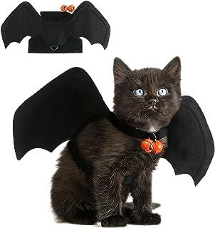 DIYASY گربه لباس خفاش هالووین ، هالووین حیوانات خانگی کوچک تزئین لباس خفاش سیاه برای سگ و گربه توله سگ با زنگ