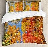 ABAKUHAUS Otoño Funda Nórdica, Bosque en otoño, 2 Fundas para Almohada Set Decorativo de 3 Piezas, 264 X 220 cm, Naranja Azul Verde