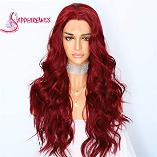 Sapphirewigs Red Wavy Type Futura No-Tangle Glueless Women Party Daily Makeup Synthetic Lace Front Wigs