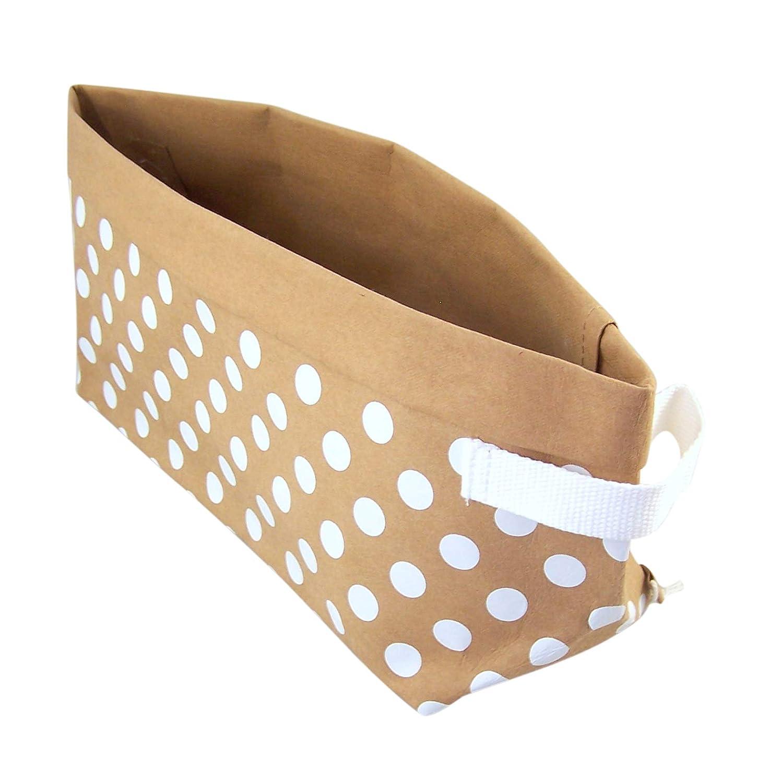 Polka Dot Washable Kraft Paper Multipurpose Storage Bin, 12 Inch