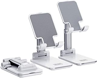 Technomounts Adjustable Cell Phone Stand for Desk, Foldable Mobile Phone Holder for most of phone and tablet sizes (White)