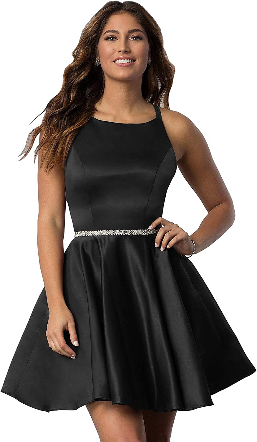 YGSY Women's Scoop Neck Satin Prom Max 76% OFF Dress Homecoming Short Be super welcome Dresse