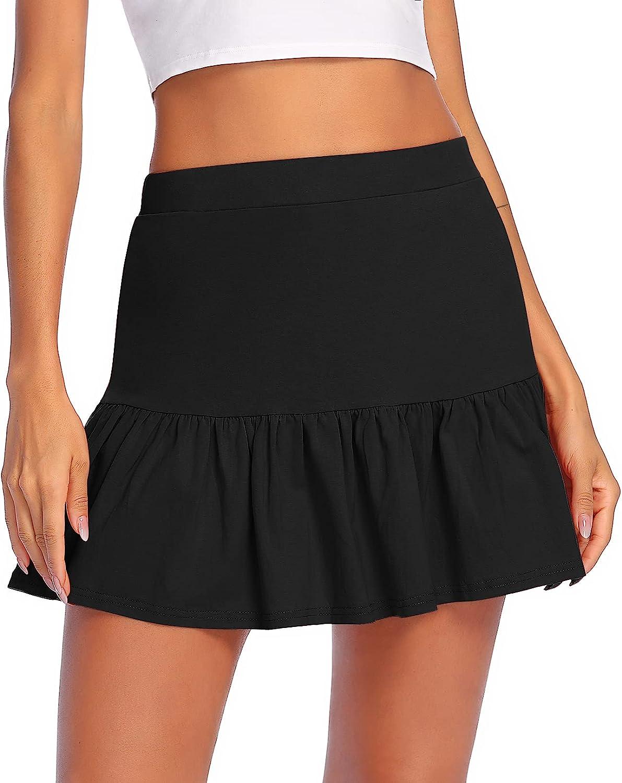 Zeagoo Skirt for Women Teen Girls Basic Solid Flared Casual Mini Pleated Skater Skirt