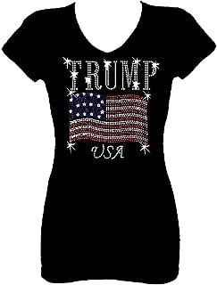 Trump Flag Rhinestone Womens V Neck Short Sleeve Tee Shirt