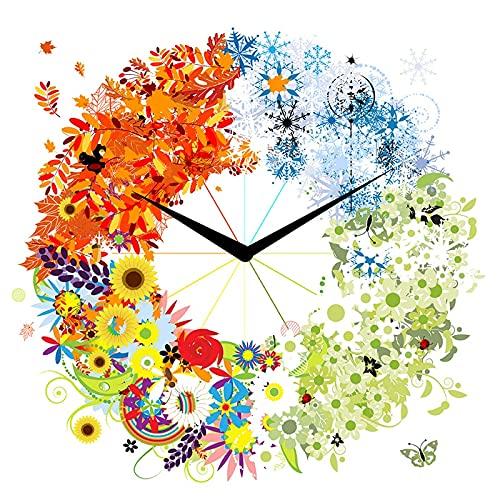 5D diamante pintura bricolaje taladro redondo completo Familia 5D bordado punto de cruz mosaico arte decoración del hogar Reloj de flores(40x50) CM