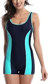 Women's Boyleg One Piece Swimsuits Sports Swimwear Athletic Boy Short Bathing Suit