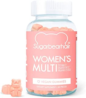SugarBearHair Women's Multi Vegan MultiVitamin with Glutathione, Vegan Omega-3, Folate, Vegan Collagen Booster Blend (1 Month Supply)