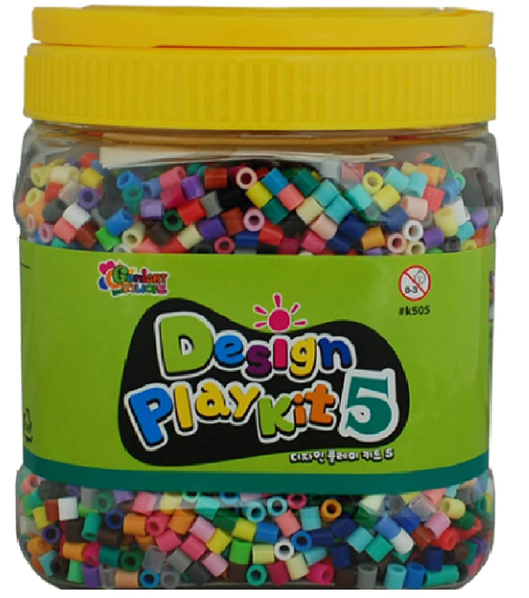 Fuse Beads - Design Play Kit 5 - Made in Korea - Includes 5,500+ 5mm Mixed Color Fuse Beads, a Sheet of Ironing Paper, 3 Pegboards, Tweezers, Instructions, Patterns - Works with Perler Beads