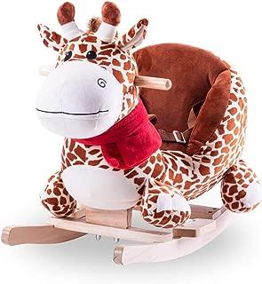 Baby Rocking Horse 1-3 Year Old Children's Rocking Chair Giraffe Rocking Cradles Plush Wooden Horse Unicorn Elephant Rocker Soft Plush Toddlers Kids Baby Children Toy