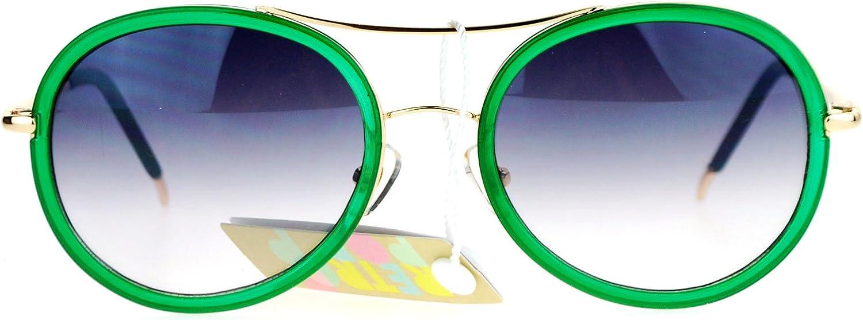 SA106 Womens Luxury Diva Double Rim Retro Aviator Sunglasses Green