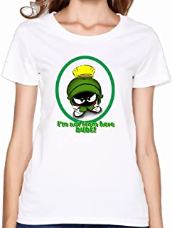 KY レディース U首シャツ 今季最新 シャツ丸首シャツ マービン?ザ?マーシャン 化け物 イラスト 面白い Tシャツ White 半袖シャツ 着心地が良い Size S
