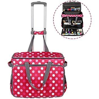 biteatey Red Dot Sewing Machine Trolley Bag Bolsa de máquina de Coser con Ruedas portátil para máquina de Coser y Accesorios de Costura: Amazon.es: Hogar