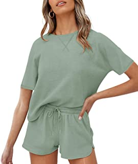 ZESICA Women's Waffle Knit Pajama Set Short Sleeve Top and Shorts Loungewear Athletic Tracksuits with Pockets