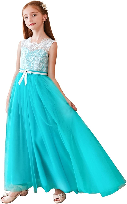Leyidress Flower Girl Dress Lace Girls Bridesmaid Dresses Girls Puffy Dress Tulle Maxi Dresses Kids