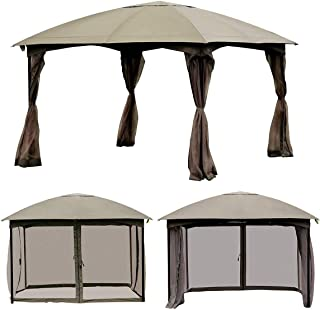 Tangkula Outdoor Gazebo 11.5' x 11.5', Fully Enclosed Canopy Gazebo Tent with Removable 4 Walls, Suitable for Patio Garden Lawn Beach, with 133 Square Feet of Shade