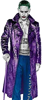 Jared Leto Joker Suicide The Squad Purple Leather Trench Coat for Men