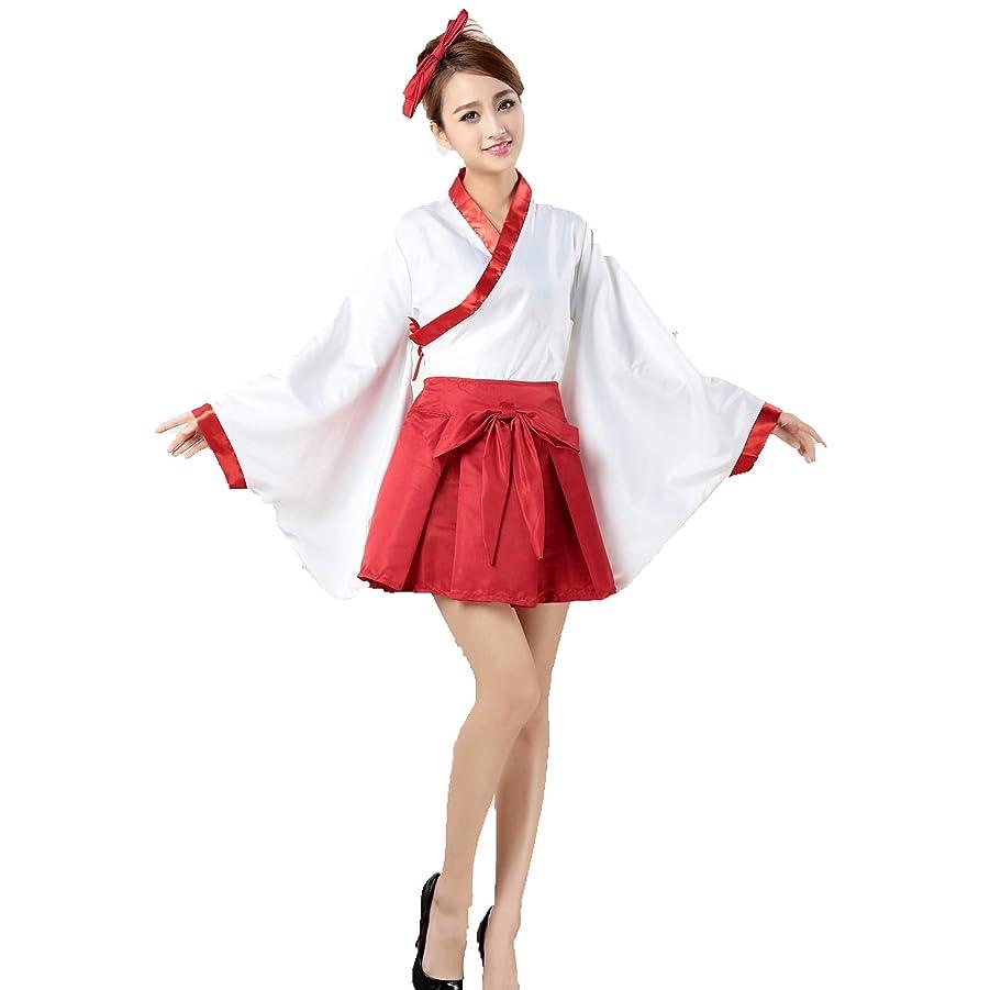 脚迷路教師の日Clarity 巫女 コスプレ 衣装セット(白衣、スカート、カチューシャ) 和服 ミニ 着物 かんたん 巫女装束 白 赤 コスチューム レディース フリーサイズ