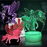 DigHealth Luz de Nocturna 3D Unicornio, LED Ilusión Optica Lámpara, Control Remoto 16 Colores, USB Recargable, Base de Lámpara Toque Inteligente Regulable, Luz Noche Cabecera para Niño