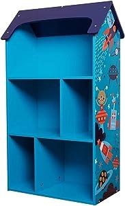 "Toffy & Friends Kids Wooden Bookshelf Bookcase Dollhouse KidsRoom Storage Organizer Environmentally Friendly UV Paint Non-Toxic Lead Free 21×10.6×36"" (Blue Series)"