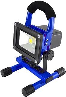 MCTECH 10W projecteur LED avec batterie blanc chaud lampe baladeuse jaune pour Activites Exterieur et Interieur Comme Camping,Jardin,Abri,Cave etc