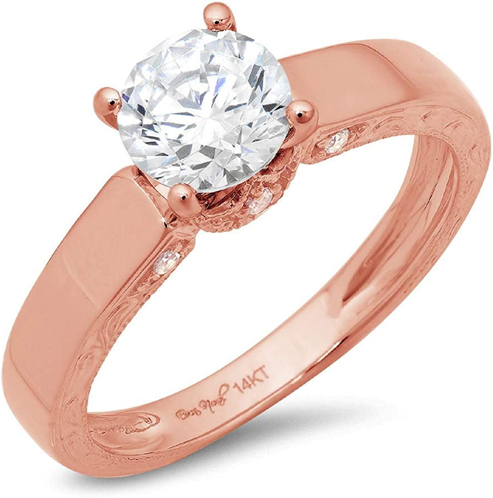 Clara Pucci 1.8 Brilliant Round Cut Solitaire Stunning Genuine Flawless White Lab Created Sapphire Gem Designer Modern Accent Ring Solid 18K Rose Gold