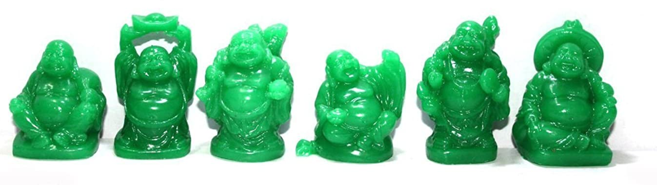 Set of 6 Jade Color Feng Shui Laughing Buddha Statue Figures Luck & Wealth
