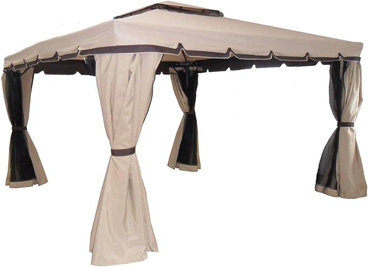 Gazebo 3x4 giardino in alluminio copertura 250 gr. antipioggia zanzariere e teli laterali michele sogari 09036