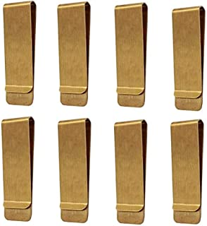 Classic Cash Clips, Qtopun Set of 8 Metal Credit Business Card Holder Money Paper Slim Clips for Women Men Office and Home-Gold
