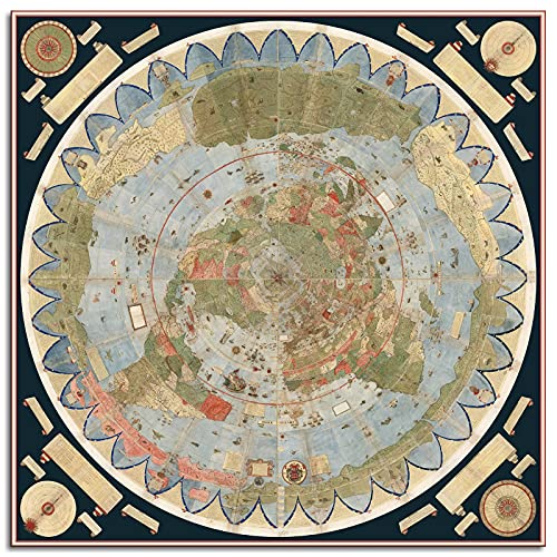 Flat Earth Map Of The World 1587 Urbano Monte Poster Art Globe Canvas Prints Poster Wall Art For Home Office Decorations Unframed 16'x16'
