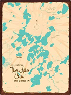 Three Lakes Chain Wisconsin Vintage-Style Map Rustic Metal Art Print by Lakebound (18