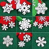 VINFUTUR 100 Stücke Weihnachtenanhänger Holz Schneeflocken 25mm 35mm Mini Streuteile Schneeflocken Tischdeko Weihnachten Winterdeko Holzdeko (Schneeflocken) - 3