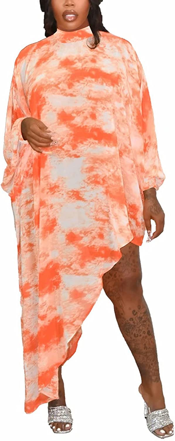 Womens Casual Tie Dye Maxi Dress Plus Size Half Sleeve Loose Long Split with Pocket Beach Outfits
