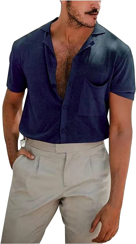 Mens Button Down Shirts Henley V-Neck Linen Short Sleeve Casual Slim Fit T-Shirt Summer Basic Tops