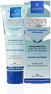 Luster Premium White | Luster NOW! Instant Dental Whitening Anticavity Fluoride Toothpaste, Enamel Safe, Visibly Whitens Teeth After 1 Brushing, Mint
