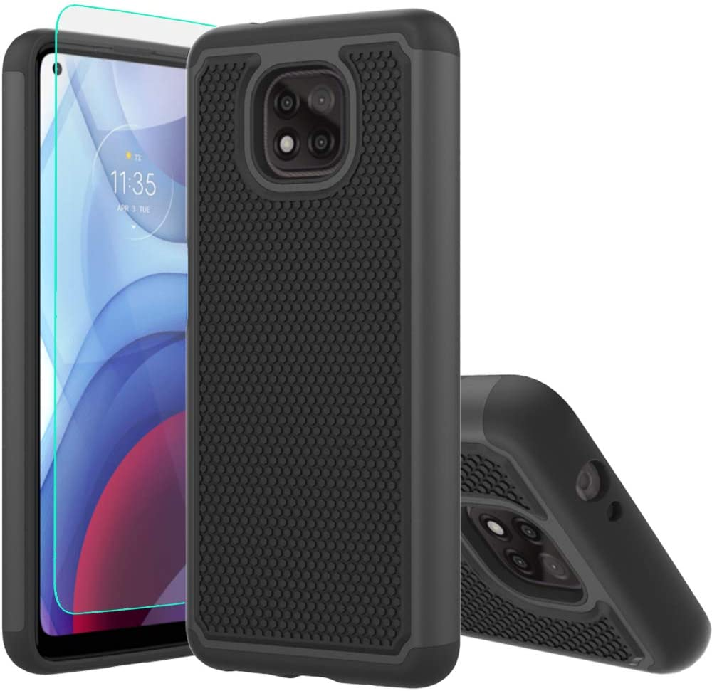 Moto G Power 2021 Case,with HD Screen Protector [Shock Absorption] Hybrid Dual Layer TPU & Hard Back Cover Bumper Protective Case Cover for Motorola Moto G Powe 2021 (Black Armor)