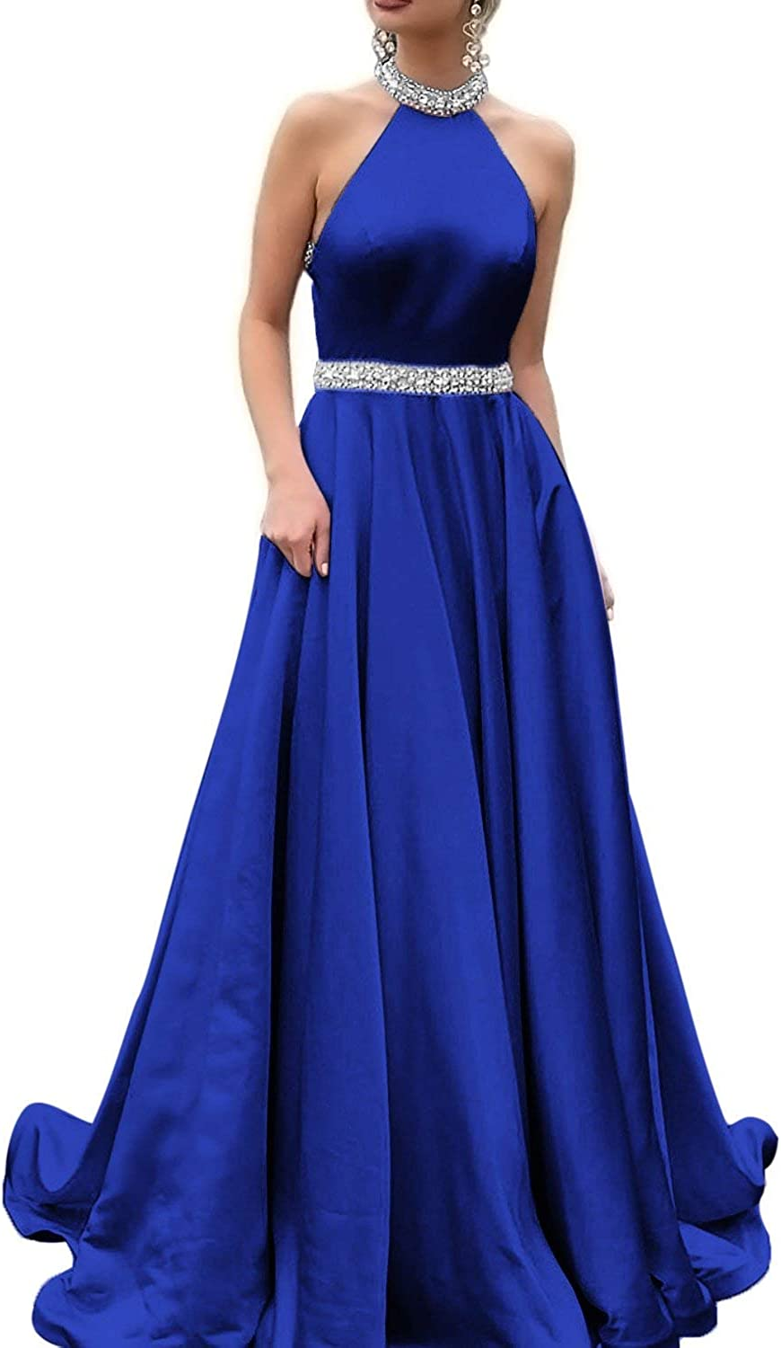 Sulidi Womens Halter Neckline Backless Prom Dresses Rhinestone Beaded Formal Satin Evening Ball Gown C001
