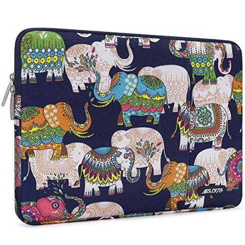 MOSISO Laptop Sleeve Compatible with 13-13.3 inch MacBook Pro, MacBook Air, Notebook Computer, Water Repellent Polyester Vertical Carrying Case Cover Bag with Pocket, Elephant Navy Blue Base