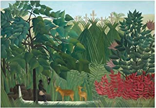 wall26 - The Waterfall by Henri Rousseau - French Post-Impressionism - Naive Primitivism - Peel and Stick Large Wall Mural, Removable Wallpaper, Home Decor - 100x144 inches