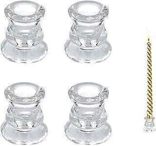 4 Pieces Clear Glass Candlestick Holder Tall Taper Candle Holders Dinner Small Candle Holder for Wedding, Decoration, Dinn...