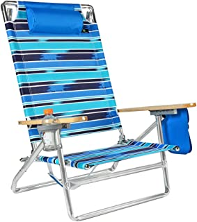 Big 5 Position Low Seat Lay Flat Aluminum Heavy Duty Beach Chair with Cup Holder - 300 lbs Capacity