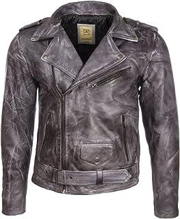 Aviatrix Men's Belted Biker Jacket in Real Cow Leather or Real Sheepskin Leather (N2KG)