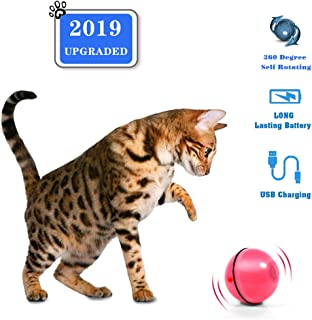 CHERRYLIFE Smart Interactive Cat Toy - Newest Version 360 Degree Self Rotating Ball, Stimulate Hunting Instinct for Your Kitty, Build-in Spinning Led Light,USB Rechargeable Pet Toy