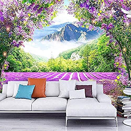Lavender Flower Vine 3D Wallpaper Photo Mural Wall Decals Living Room Sofa Bedroom Home Decor Sticker Waterproof Painting 3D Wallpaper Paste Living Room The Wall for Bedroom Mural-350cm×256cm