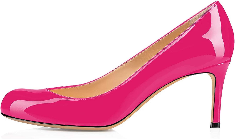 Sammitop Women's Round Toe Pumps Comfortable Slip On Low Heels Dress Pumps Black shoes
